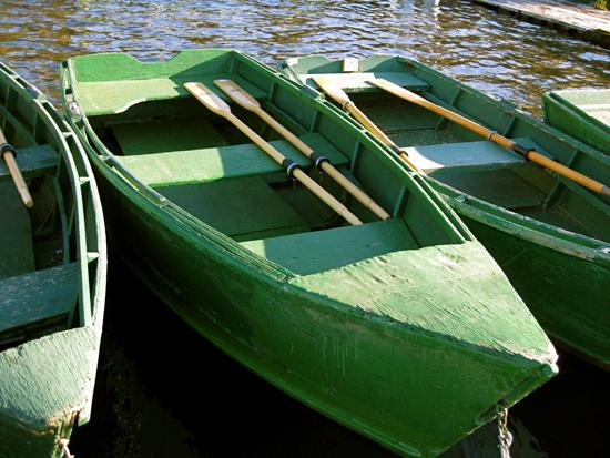 green rowboats