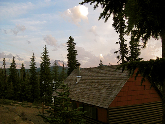 Mt. Jefferson at sunset over cabin