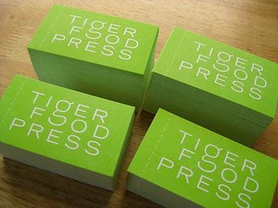 Tiger Food Press business card letterpress