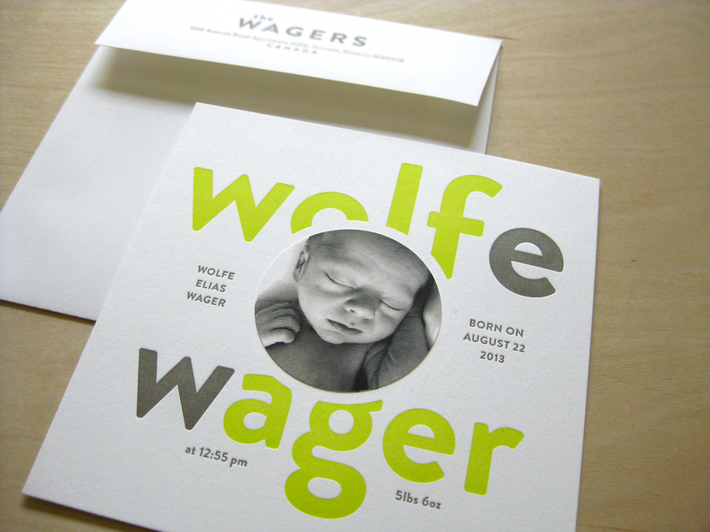 letterpress baby announcement