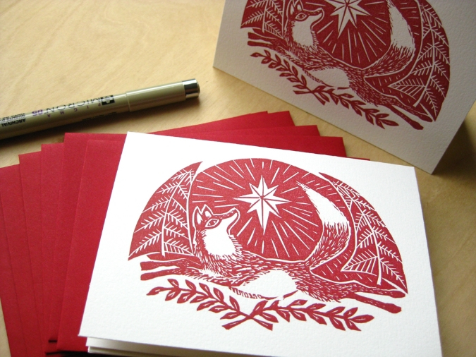 fox folk art linocut