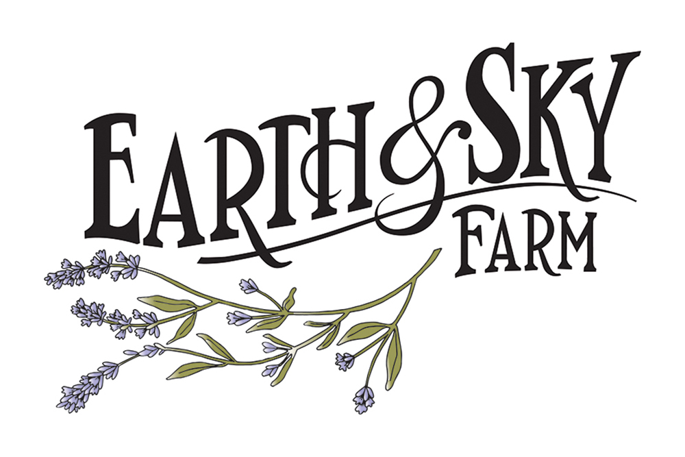 Earth & Sky Farm logo illustration - lavender