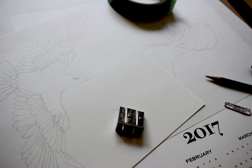 Tiger Food Press 2017 letterpress printed calendar sketch in progress