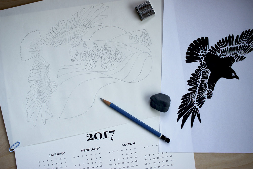 Tiger Food Press 2017 letterpress calendar sketch nearly complete