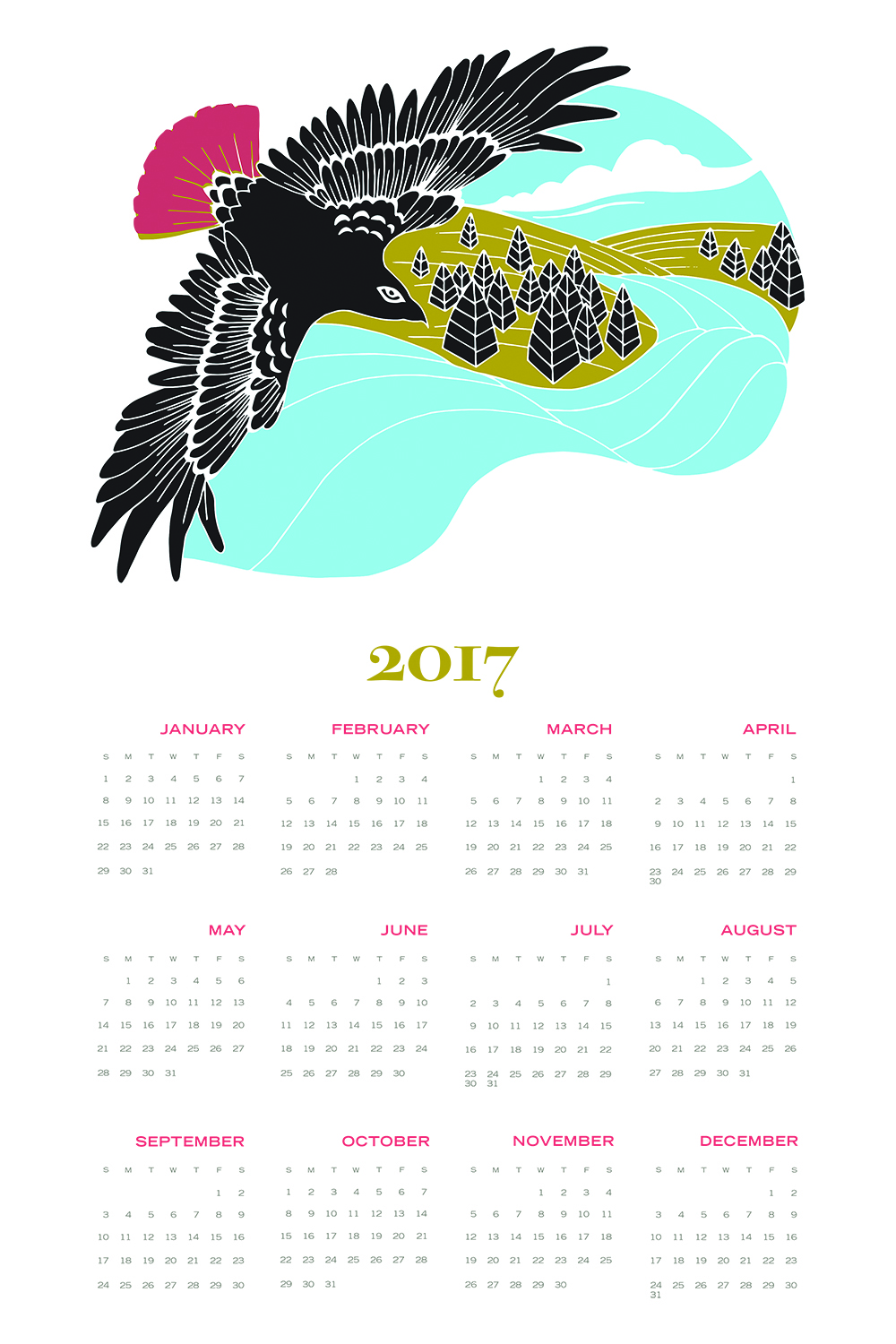 Mockup of my 2017 hawk calender