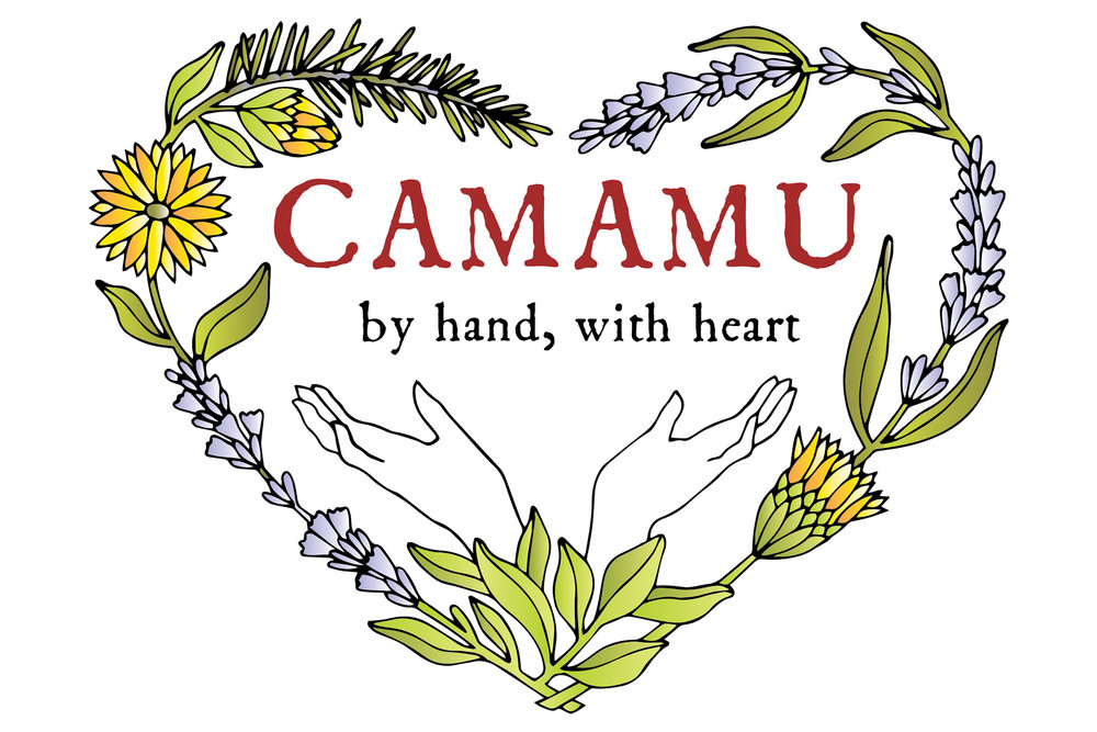 Camamu Logo botanical illustration by Tiger Food Press. Lavender, calendula, and rosemary.