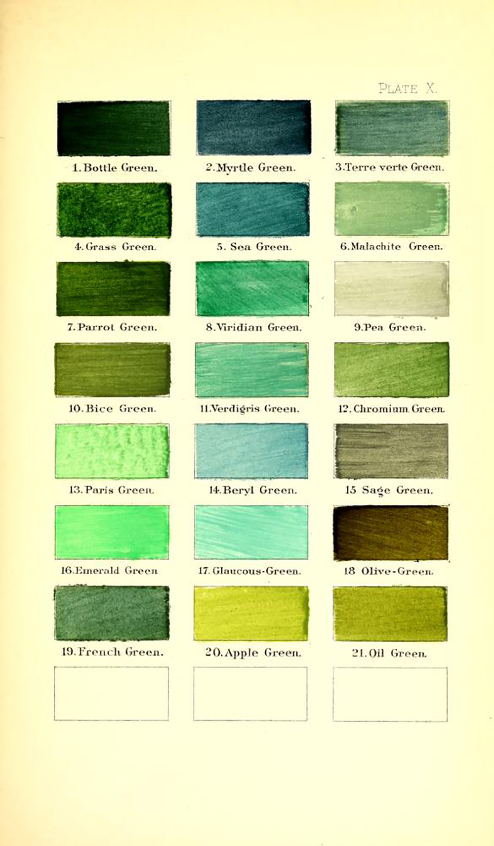 Ridgway color dictionary - greens