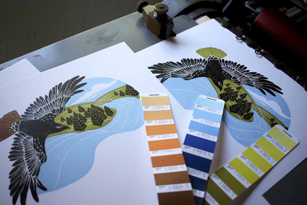 Final color printed on red-tailed hawk linocut print.