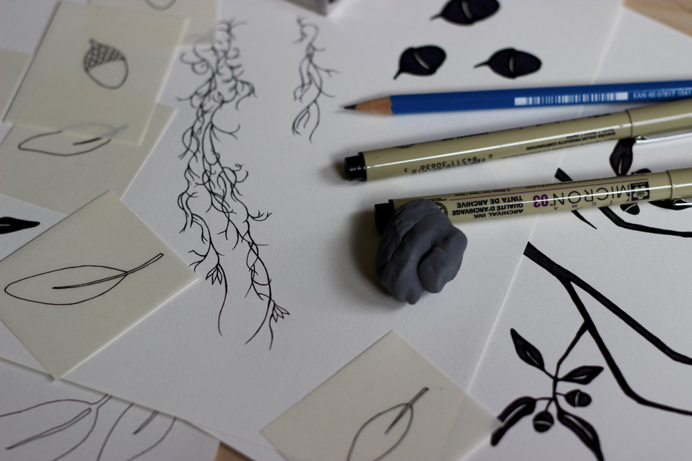 Sketching live oak and Spanish moss for a Savannah wedding invitation