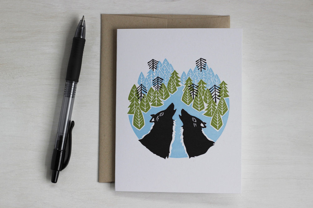 wolves howling letterpress card