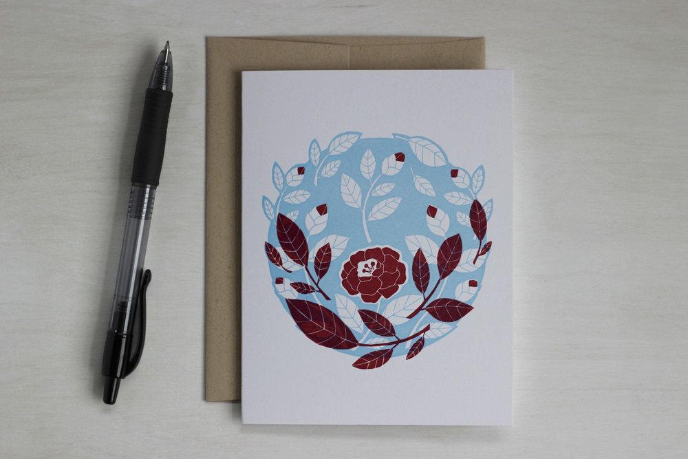 Camellia letterpress printed card