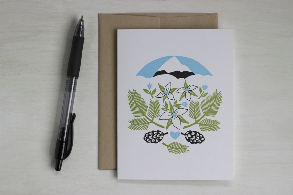 Trillium and Mt. Hood letterpress greeting card