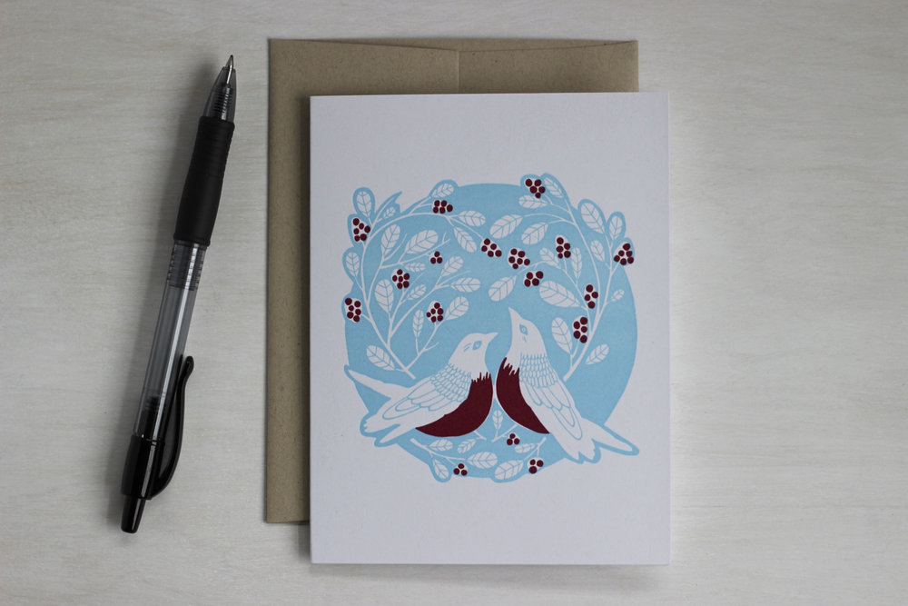 Robin Red-Breast letterpress Valentines Day card