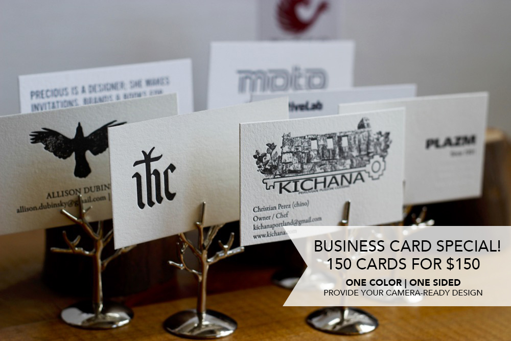 Letterpress business card printing special for the month of February - www.tigerfoodpress.com
