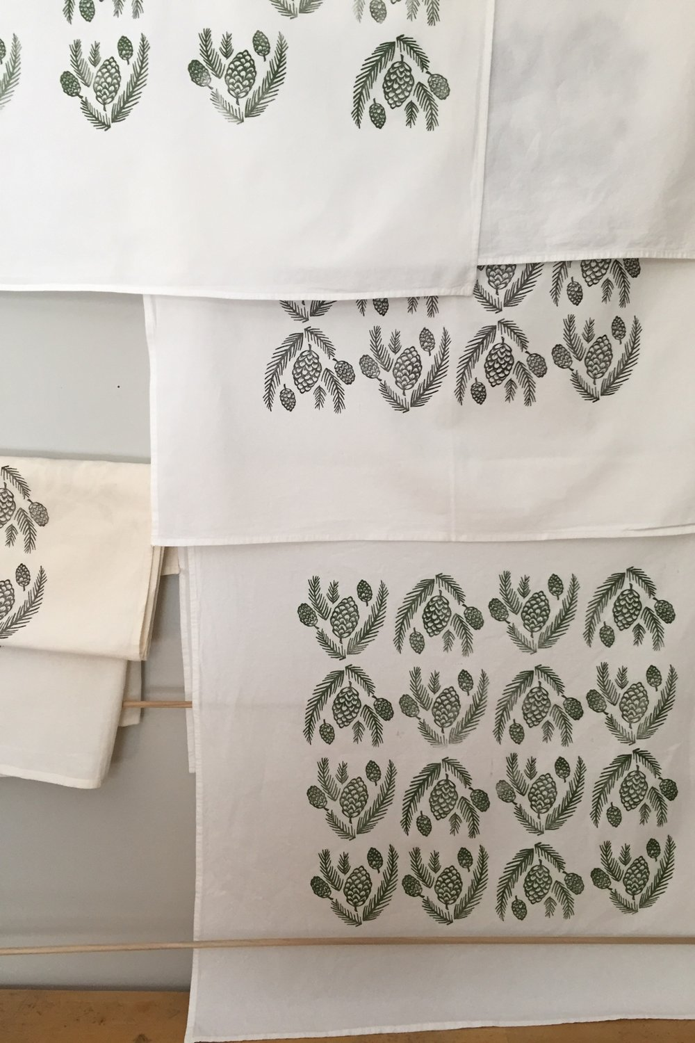 Tea towels hand printed at Tiger Food Press