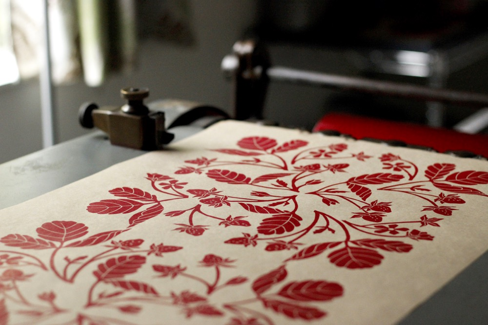Block printed strawberry gift wrap