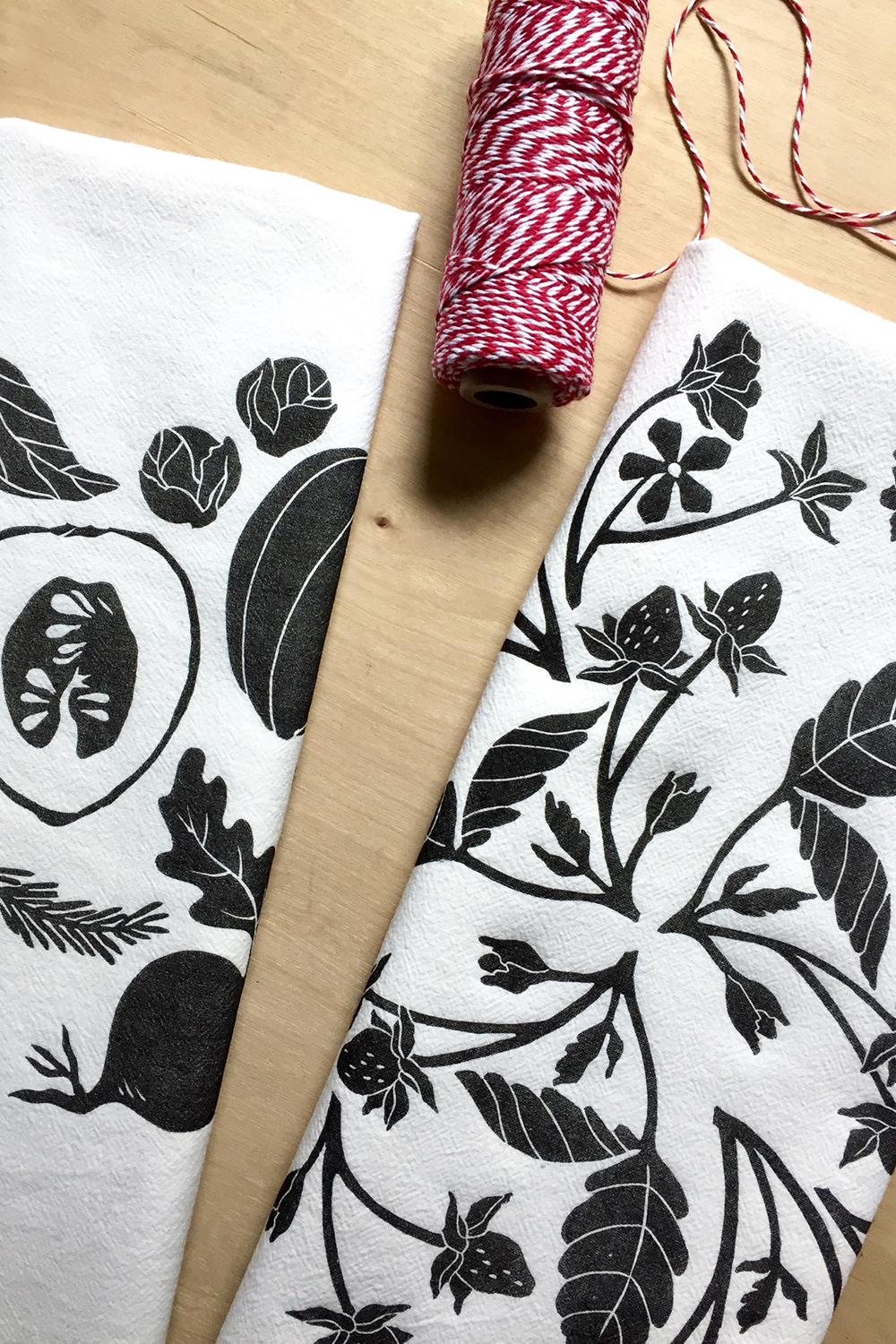 Block printed tea towels in botanical designs