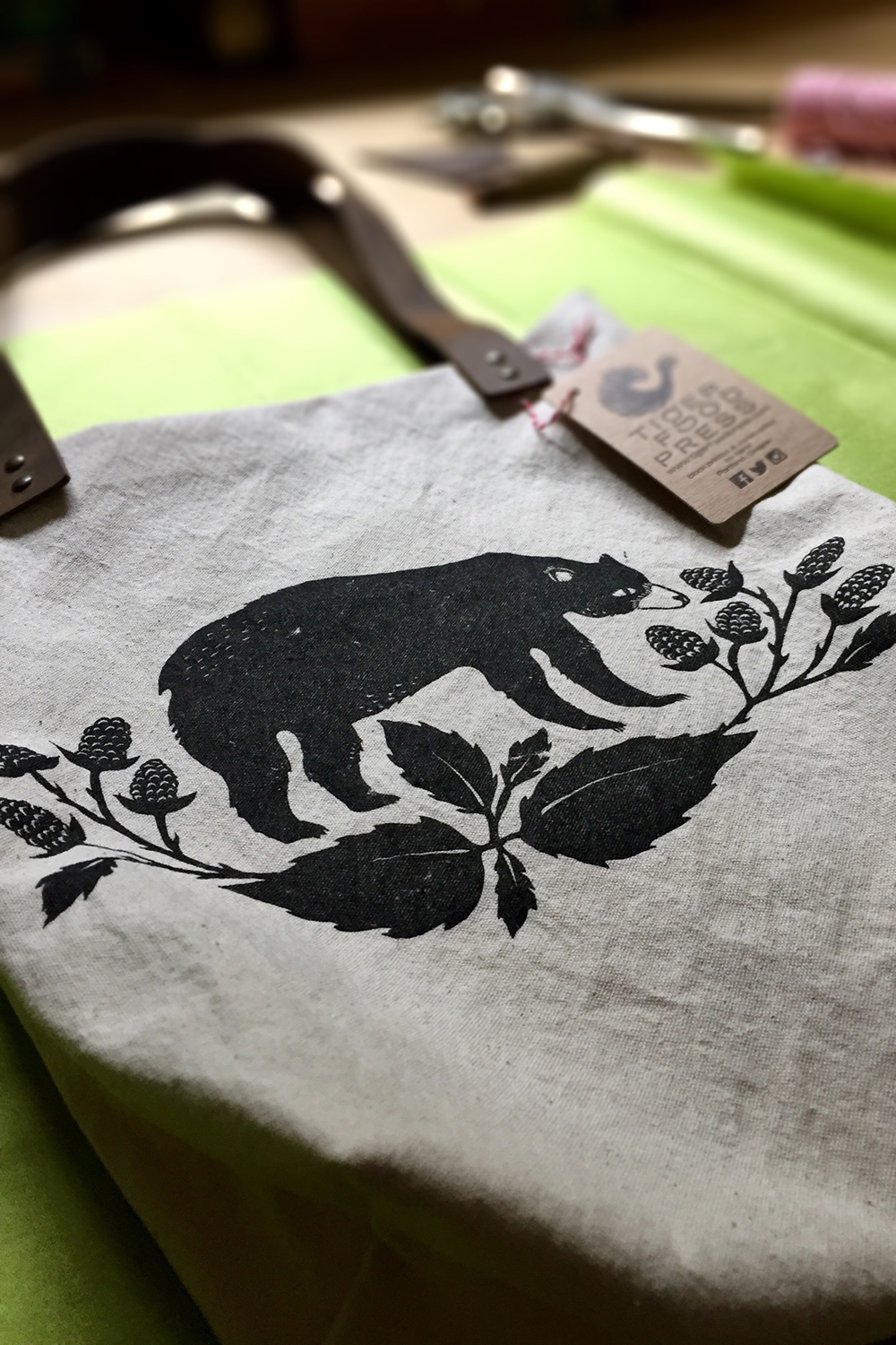 Handmade Block Printed Bear Totebag