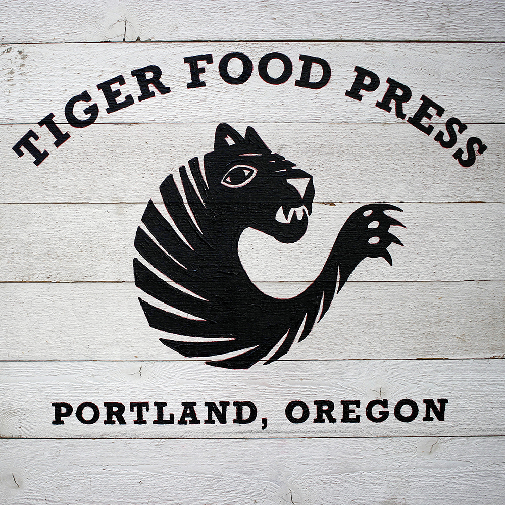 Hand painted sign for Tiger Food Press
