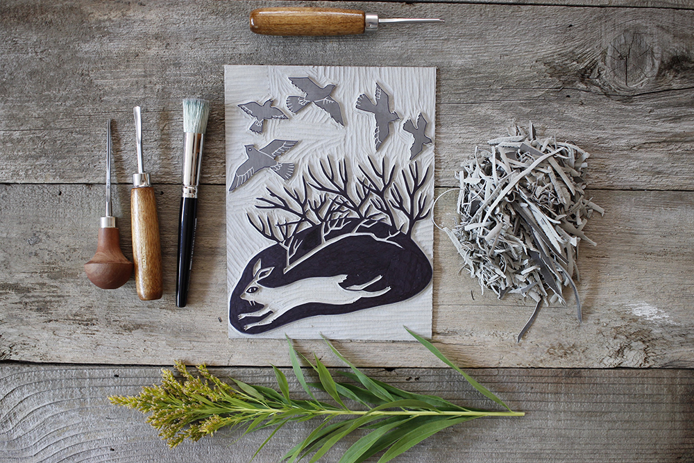 Rabbit linocut