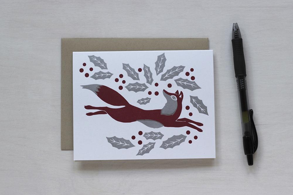 Letterpress Christmas Cards.Fox Winter Holiday Letterpress A2 Card Christmas Cards Tiger Food Press