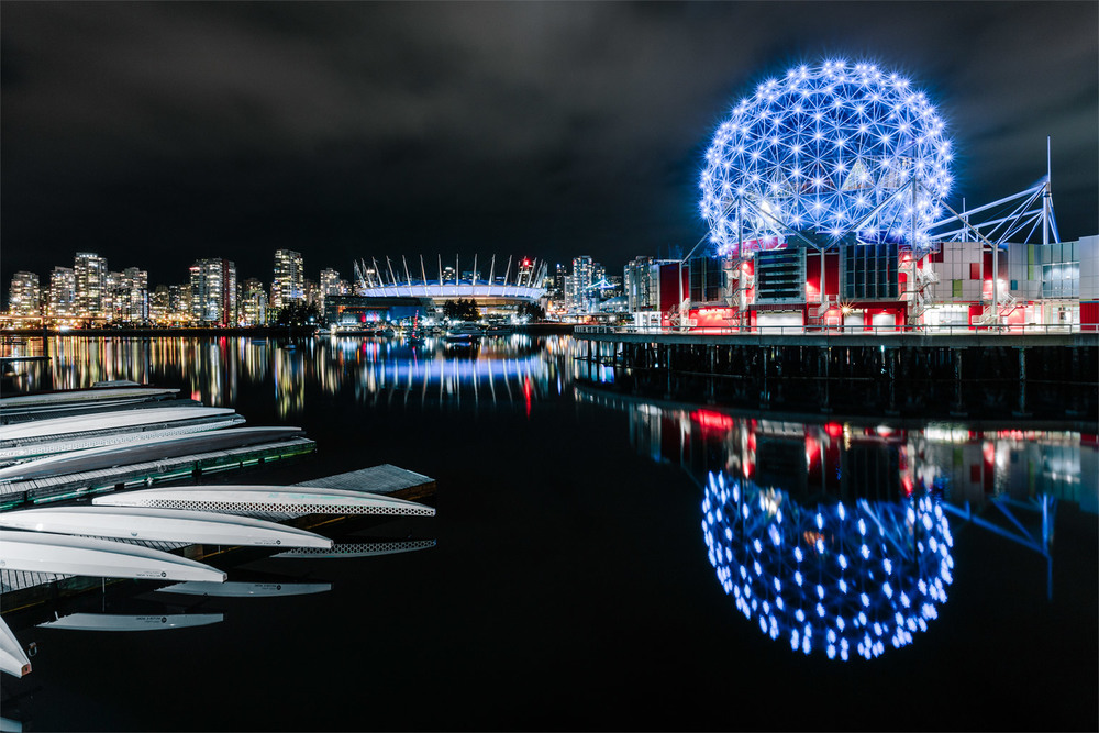 Science World and BC Place Stadium from Olympic Village during the CONTACT Winter Music Festival in Vancouver, B.C., Canada