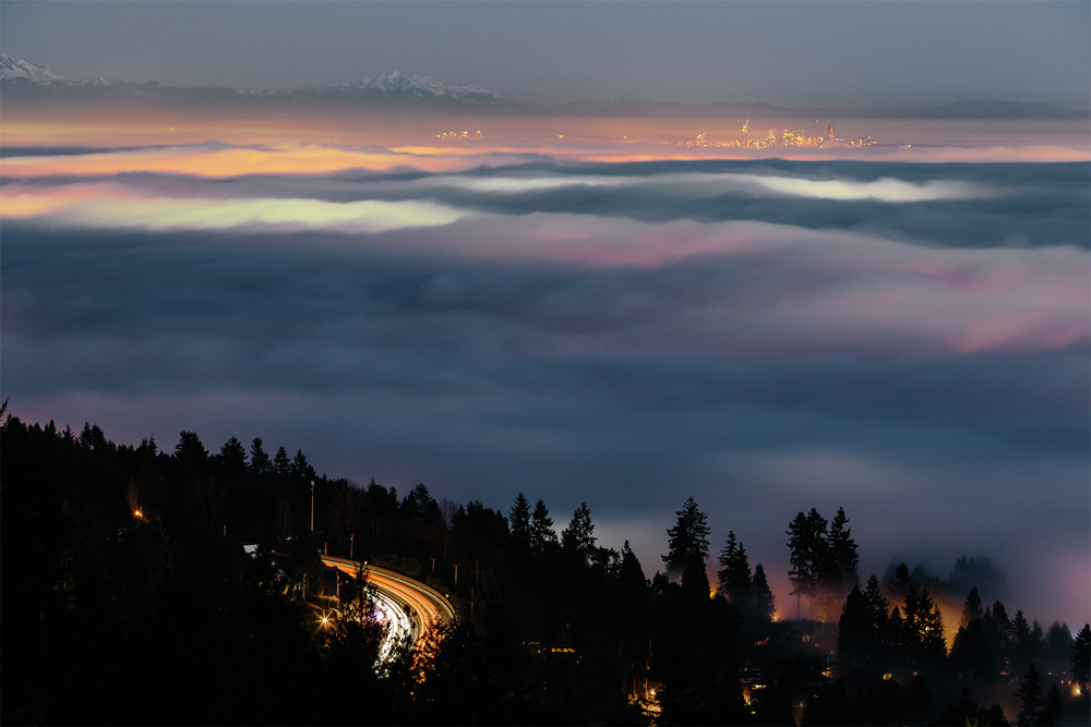 Vancouver fog seen from Cypress Mountain, West Vancouver, B.C.