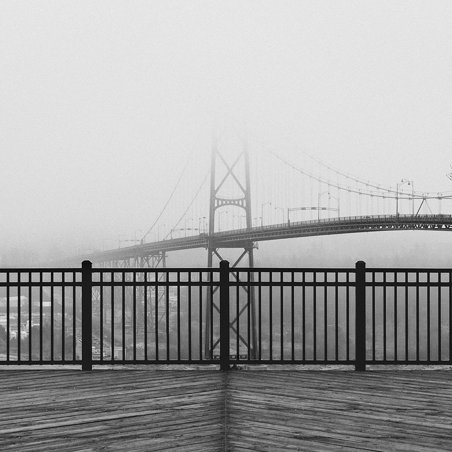 Fog over the Lions Gate Bridge. Taken from Prospect Point in Stanley Park, Vancouver, B.C.