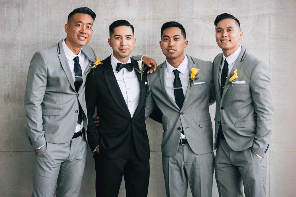 richmond olympic oval wedding photographer filipino groom groomsmen