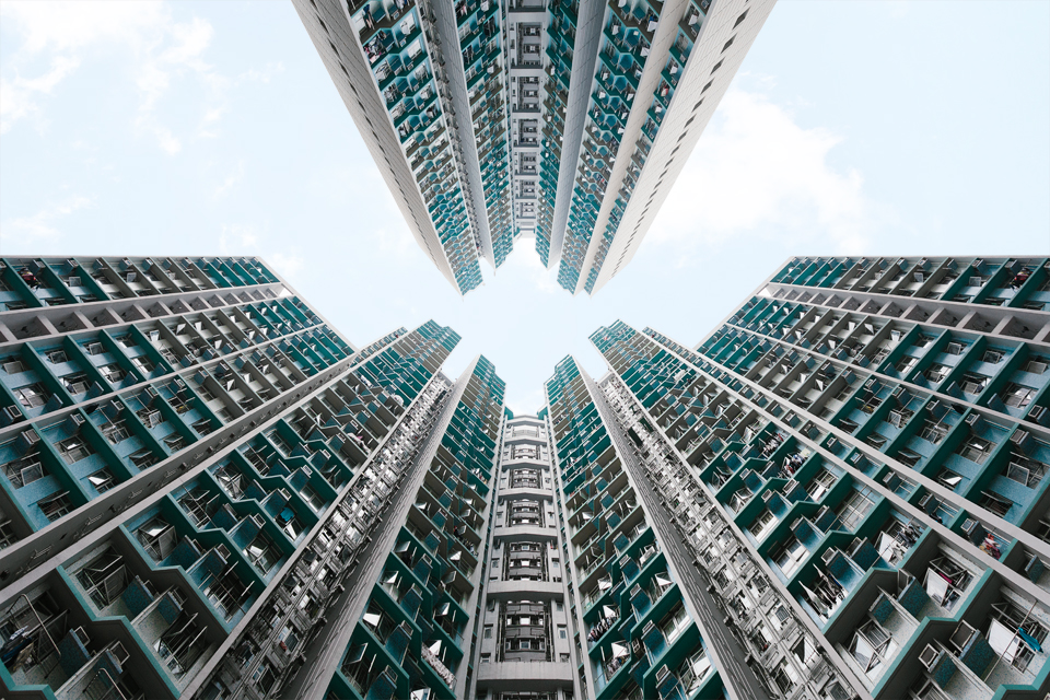 Hong Kong architectural photography looking up public housing