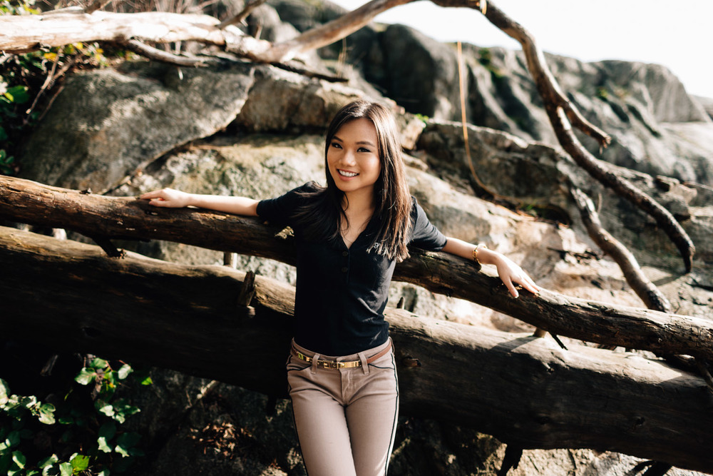 lily ling vancouver portrait photography by noyo creative at lighthouse park in west vancouver