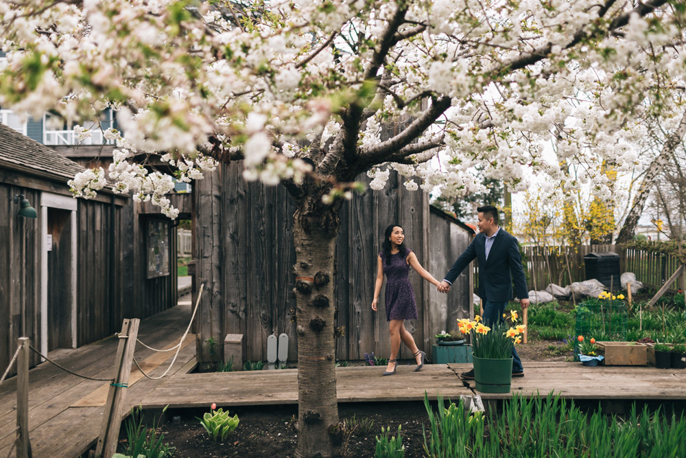asian couple engagement photography in richmond at britannia heritage shipyard