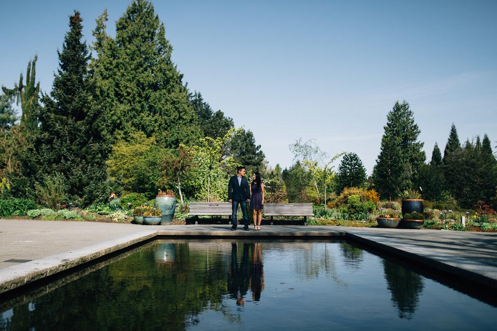 vandusen botanical garden reflection pool engagement photography