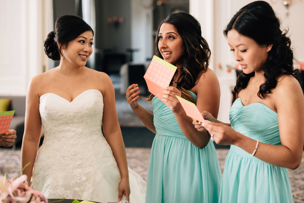 bridesmaid crying reaction at the vancouver club in coal harbour vancouver wedding photography