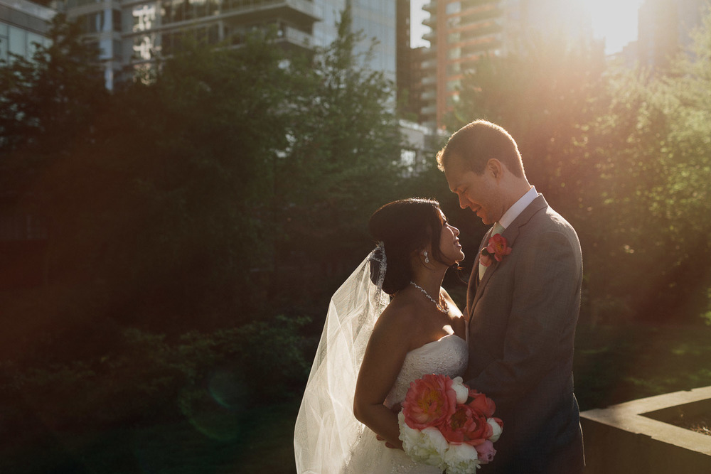 bride and groom portrait in coal harbour vancouver wedding photography