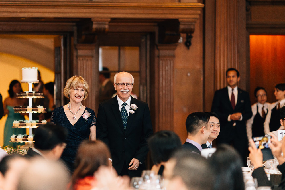 groom's parents at the vancouver club wedding reception photography