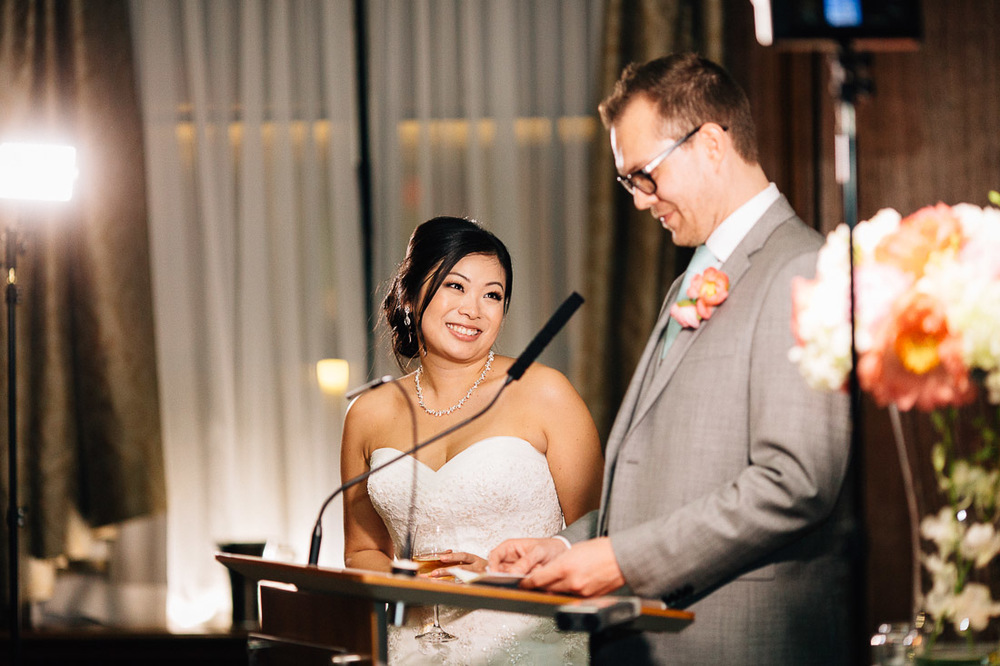 bride and groom speech at the vancouver club coal harbour wedding reception photography