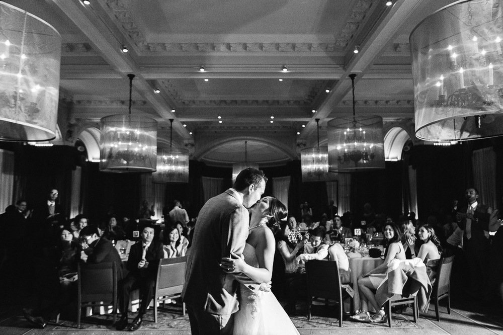 bride and groom first dance and kiss vancouver wedding photographer