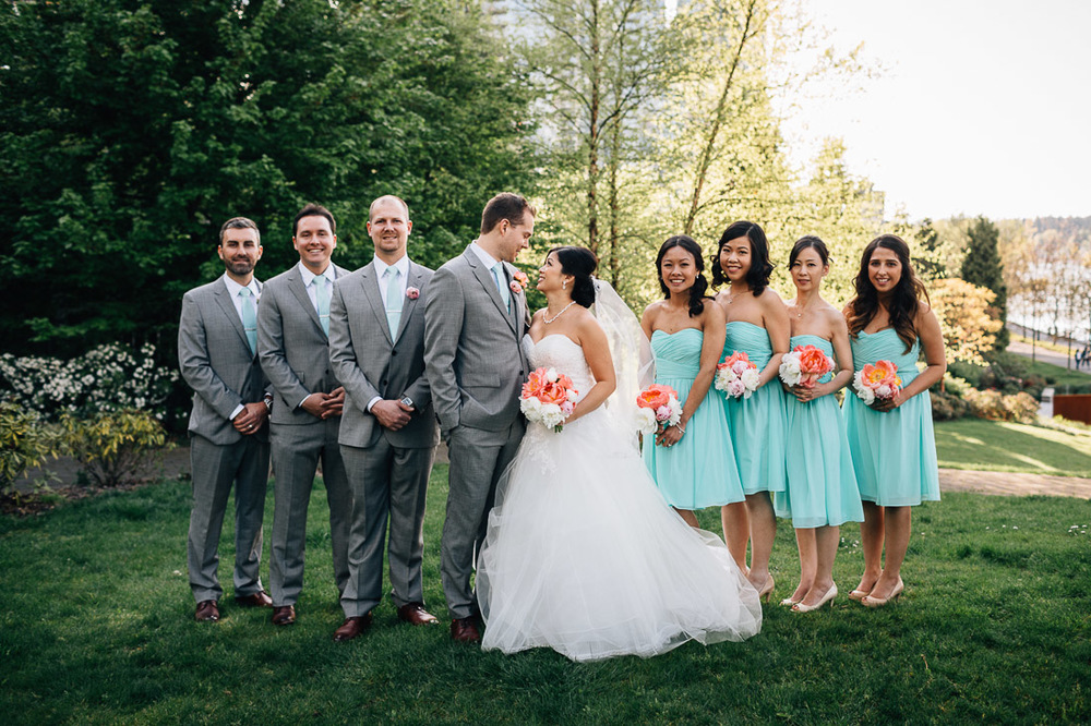 coal harbour green park bridal party portrait in vancouver wedding photography