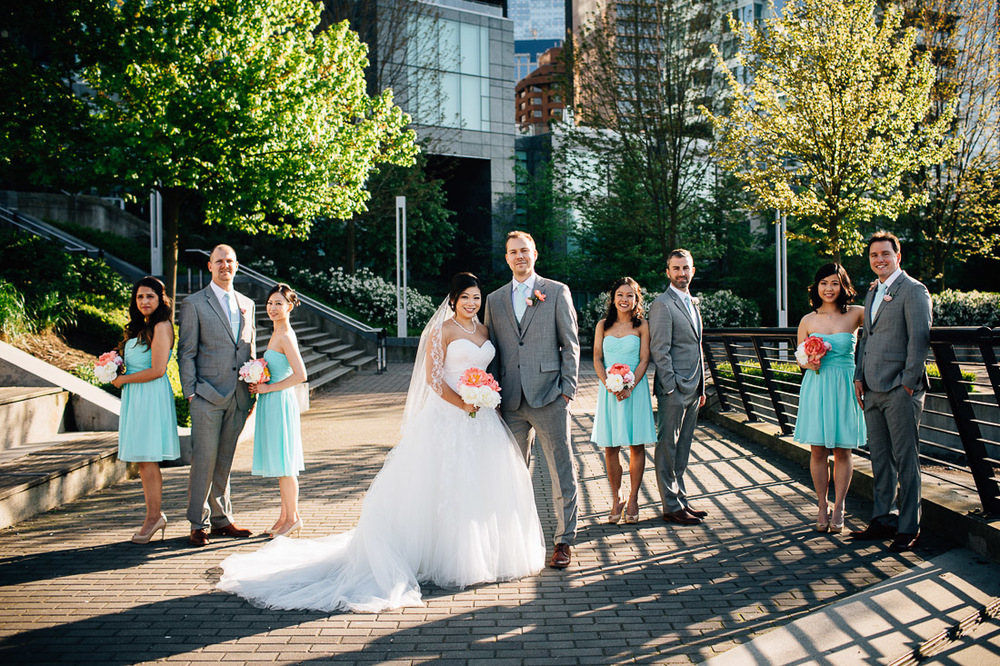 vancouver bridal party wedding portrait photography at coal harbour