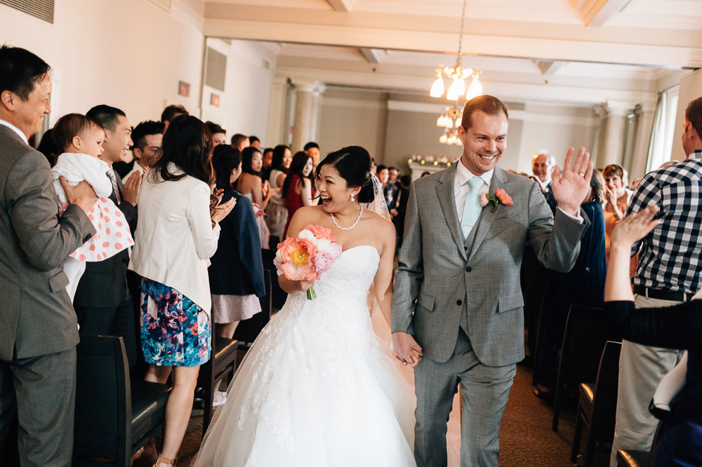 the vancouver club wedding ceremony walk down the aisle celebration photography
