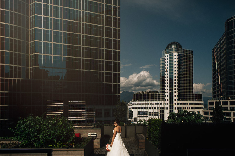 bride on the vancouver club rooftop wedding photography portrait