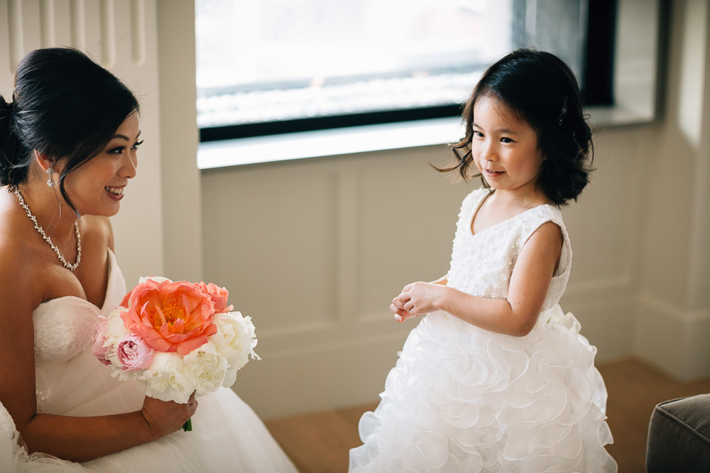 bride interacting with flower girl vancouver wedding photography summer