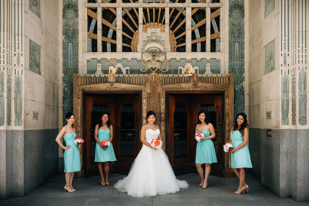 bridesmaids portrait at the marine building doors vancouver wedding photographer