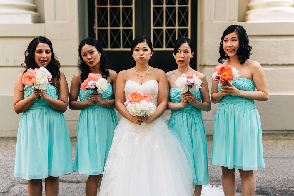 vancouver wedding photography bridesmaids funny faces portrait