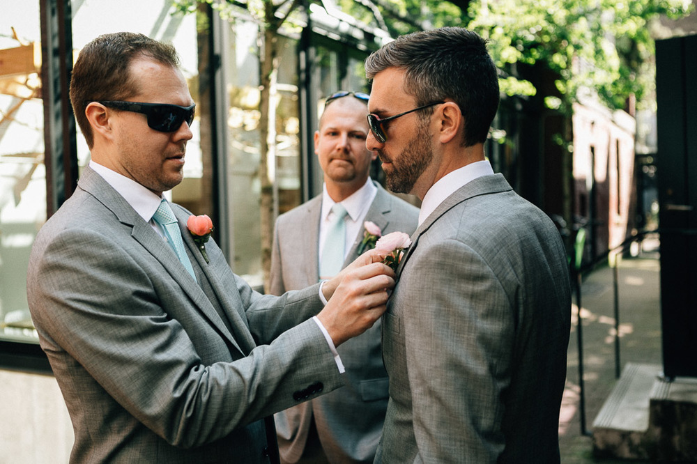 groom and groomsman tie gastown vancouver wedding photography