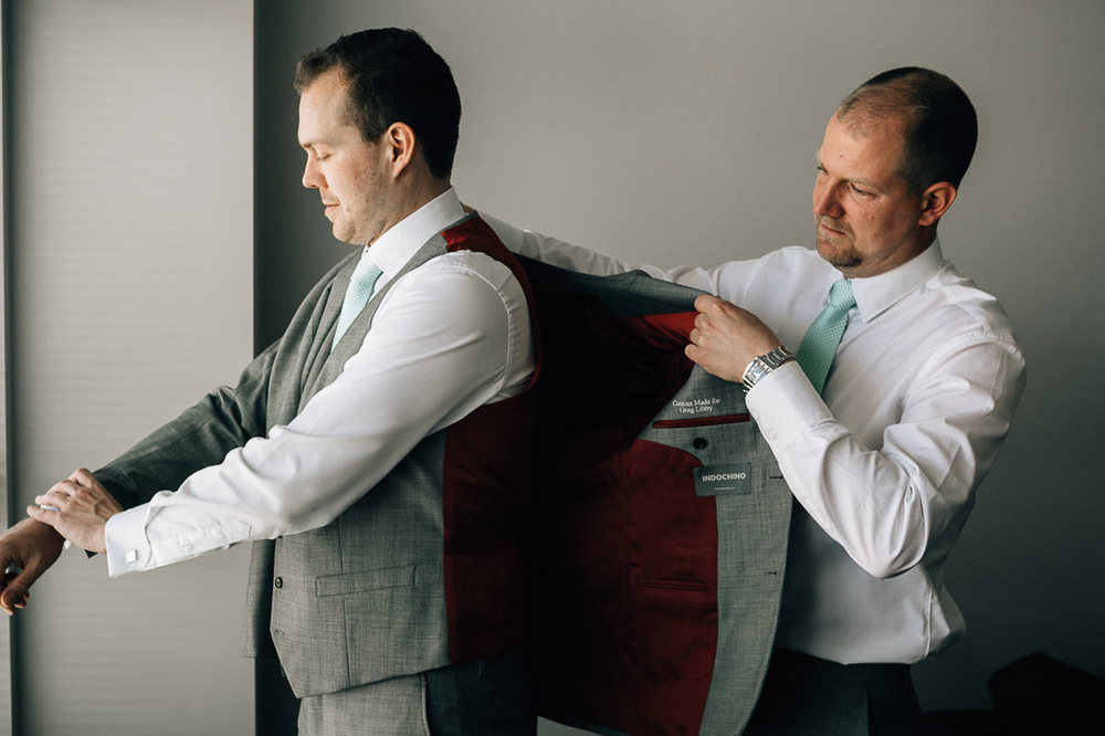 indochino wedding suit vancouver gastown groom getting ready