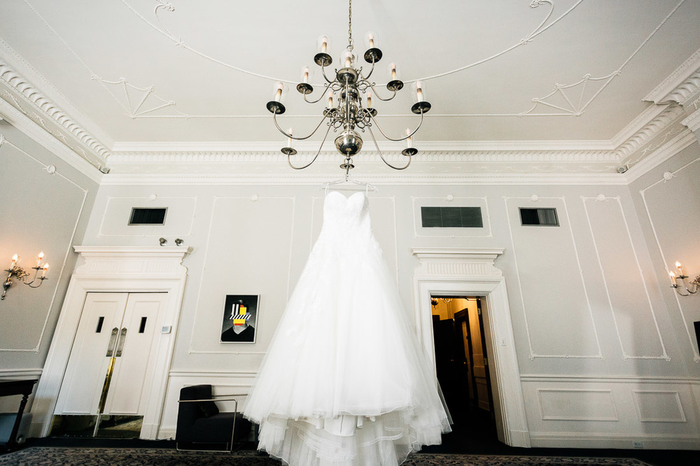 wedding dress at the vancouver club in coal harbour