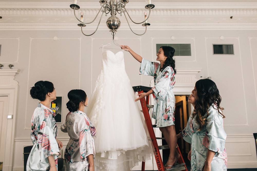 wedding dress with bride and bridesmaids at the vancouver club