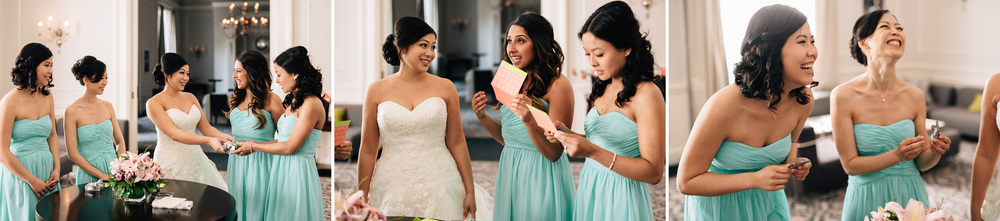 bride giving bridesmaids gifts in vancouver wedding photography
